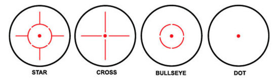 red dot sight reticle  view
