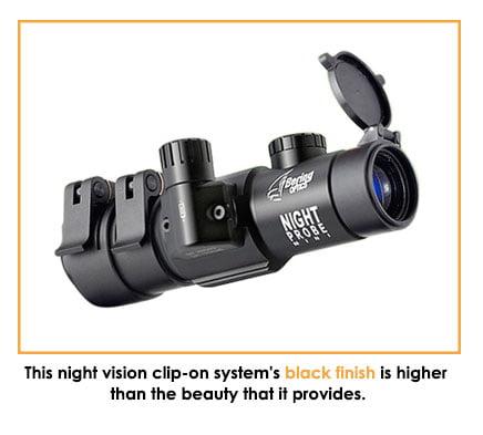 Bering Optics' Night Probe Mini Gen 3 Clip-on System's black finish